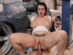 Nadia White Rides Her Auto Mechanic Charles Dera In The Shop