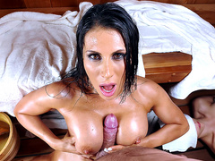 Hot Mom Makayla Cox Sucks And Titty Fucks Her Daughter's Boyfriend In The Sauna