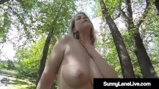 Finger Fucking Sex Fiend Sunny Lane Rubs Dickhole On Bridge!