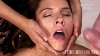 Premium Bukkake – Rebecca Volpetti Swallows 69 Huge Mouthful Cumshots