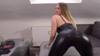 Blonde Teen Girl Gets Fucked In Leather Leggins